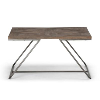 Hailey Solid Aged Elm Wood and Metal 34 in. W Industrial Modern Square Coffee Table in Distressed Java Brown Wood Inlay
