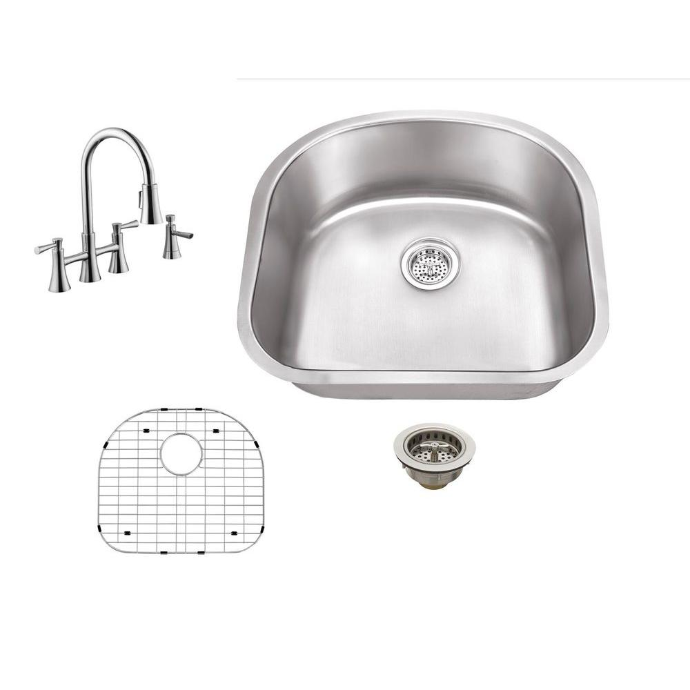 undermount kitchen sink with faucet holes schon all in one undermount stainless steel 23 in 0 27597