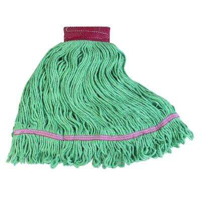4-Ply Large Looped End Green/Red Band Cotton Blend Wet Mop (Case of 12)