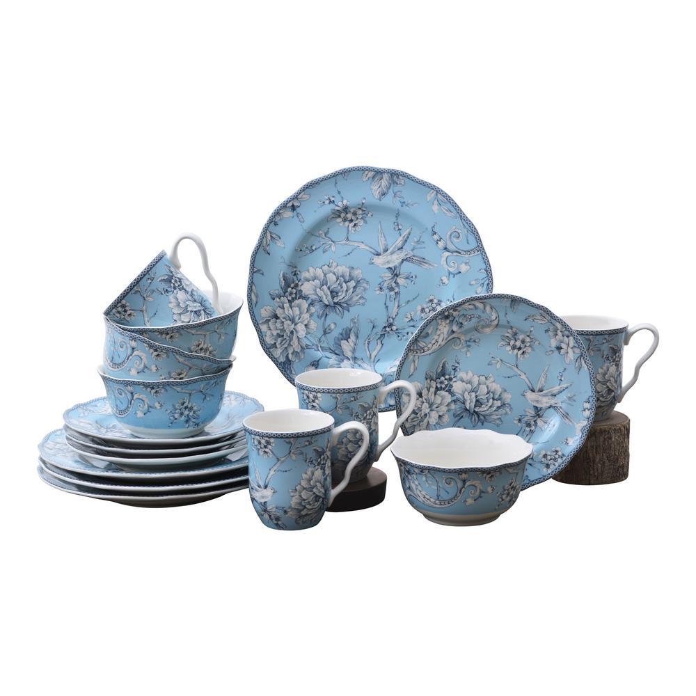 Adelaide 16-Piece Light Blue Porcelain Dinnerware Set