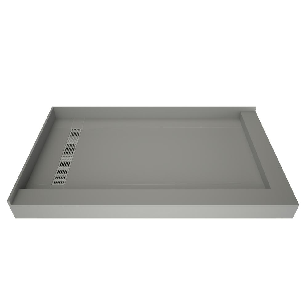 Tile Redi Redi Trench 36 in. x 42 in. Double Threshold Shower Base with Left Drain and Polished Chrome Trench Grate