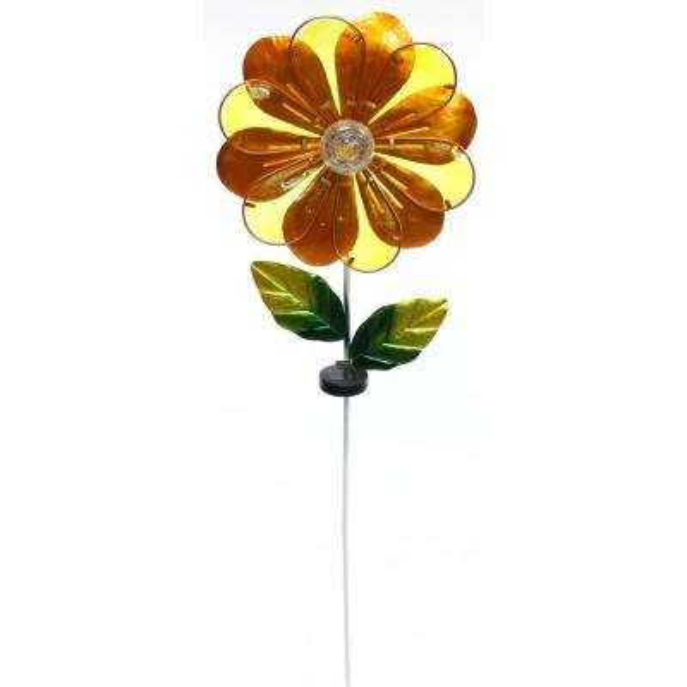 Solar Orange Flower Garden Stake