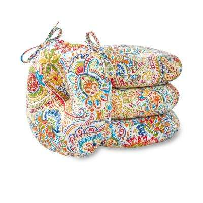 Jamboree Paisley 15 in. Round Outdoor Seat Cushion (4-Pack)