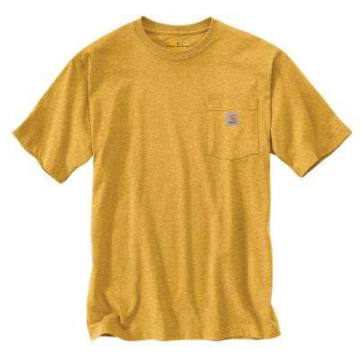 Men's Tall XXX Large Carhartt Gold Heather Cotton/Polyester Short-Sleeve T-Shirt