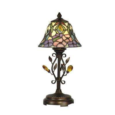 15.25 in. Peony Antique Golden Sand Accent Lamp with Crystal Shade