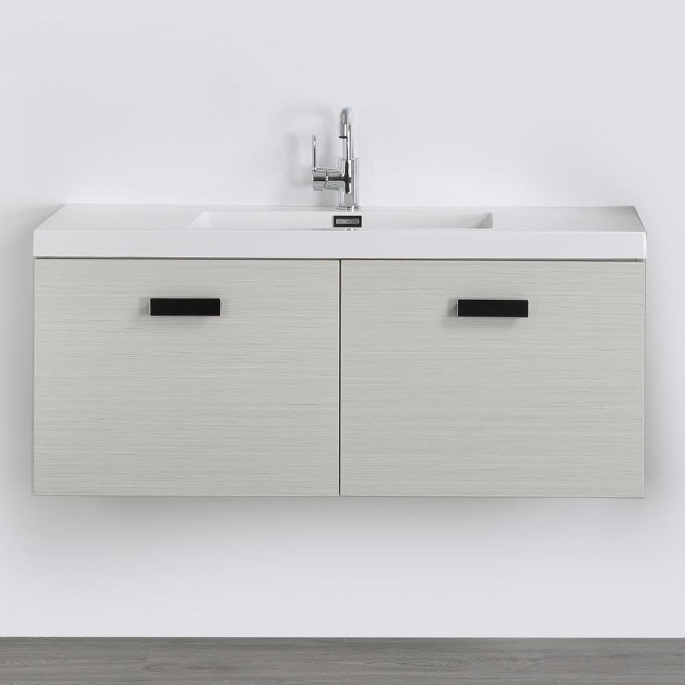 Streamline 47.2 in. W x 18.3 in. H Bath Vanity in Gray with Resin Vanity Top in White with White Basin