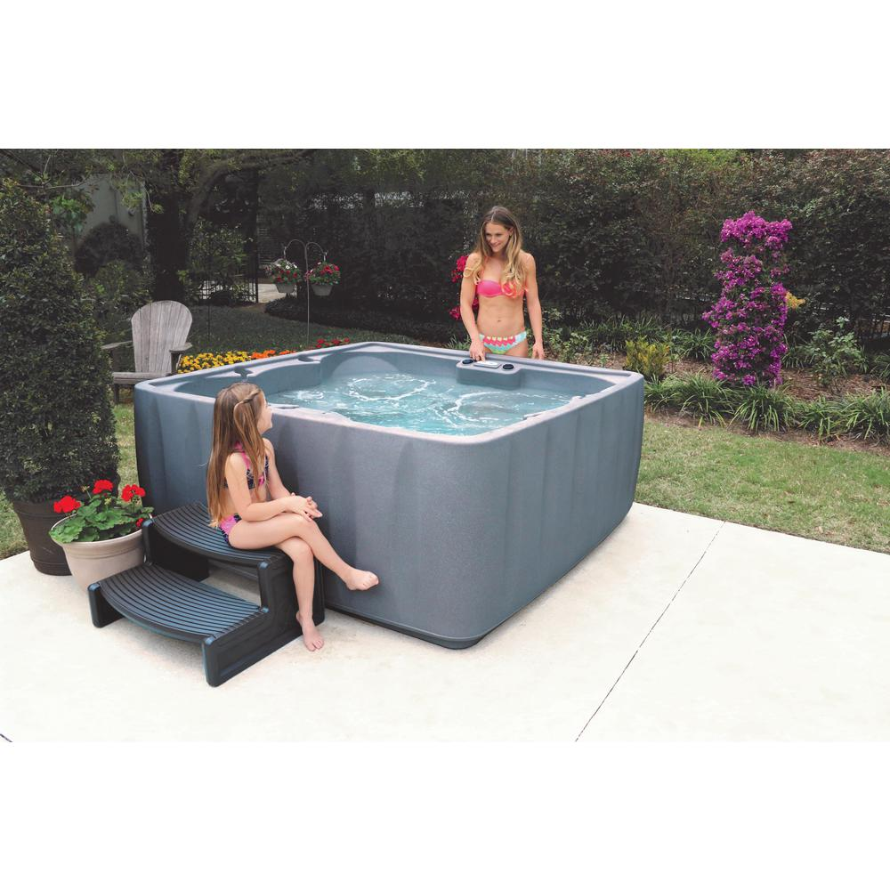 Elite 600 6-Person Plug and Play Hot Tub with 29 Stainless Jets, Ozone and  LED Waterfall in Graystone