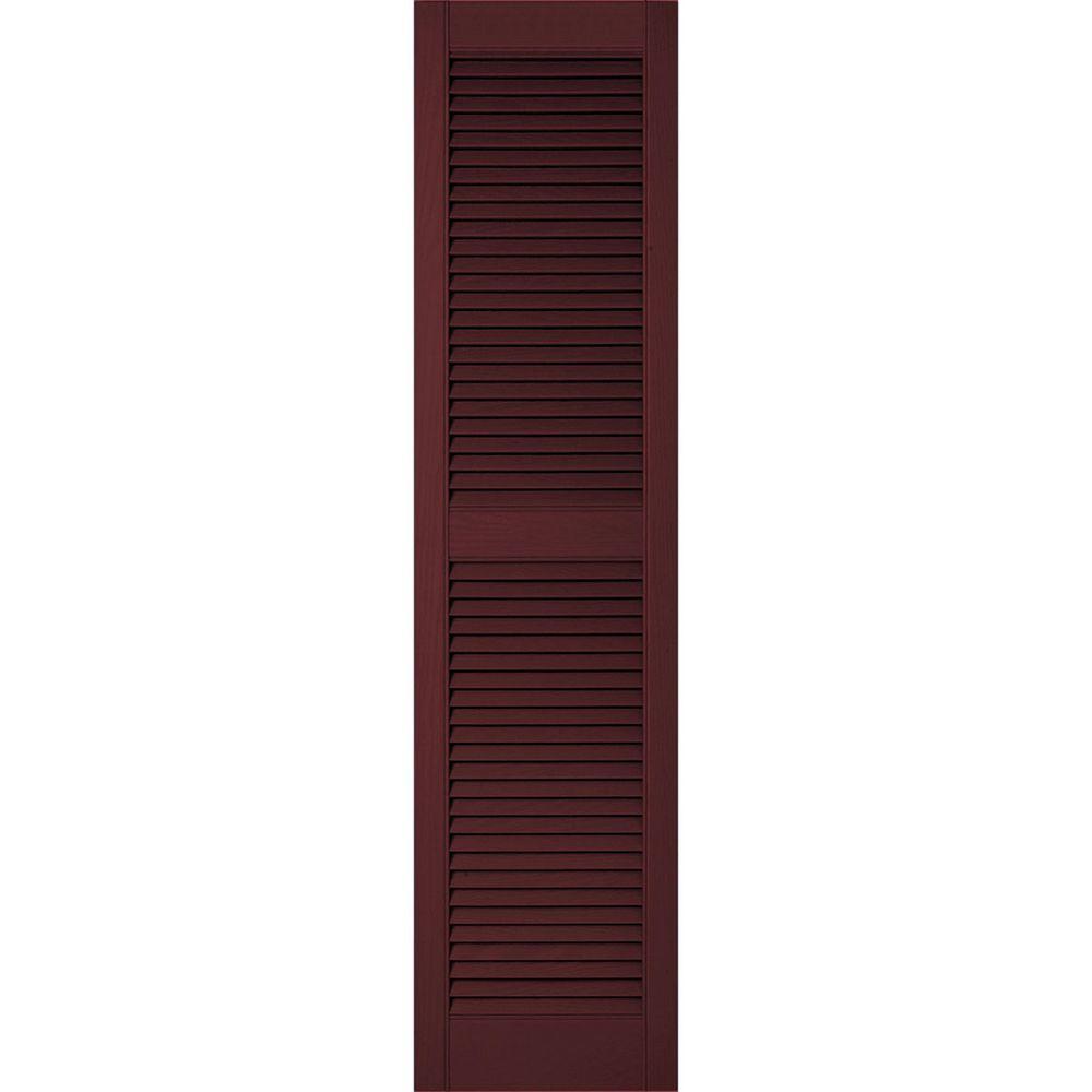 Ekena Millwork 12 in. x 34 in. Lifetime Vinyl Custom Straight Top Center Mullion Open Louvered Shutters Pair Bordeaux (Red)