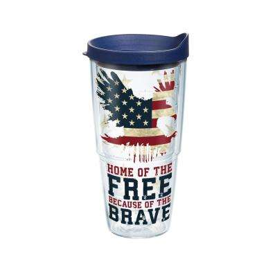 Home Of The Free 24 oz. Double Walled Insulated Tumbler with Travel Lid
