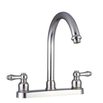 2-Handle Standard Kitchen Faucet with Hi-Arcing Spout in Brushed Satin Nickel