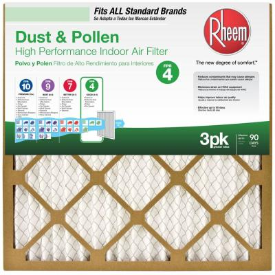 16  x 25  x 1  Basic Household Pleated FPR 4 Air Filter (3-Pack)