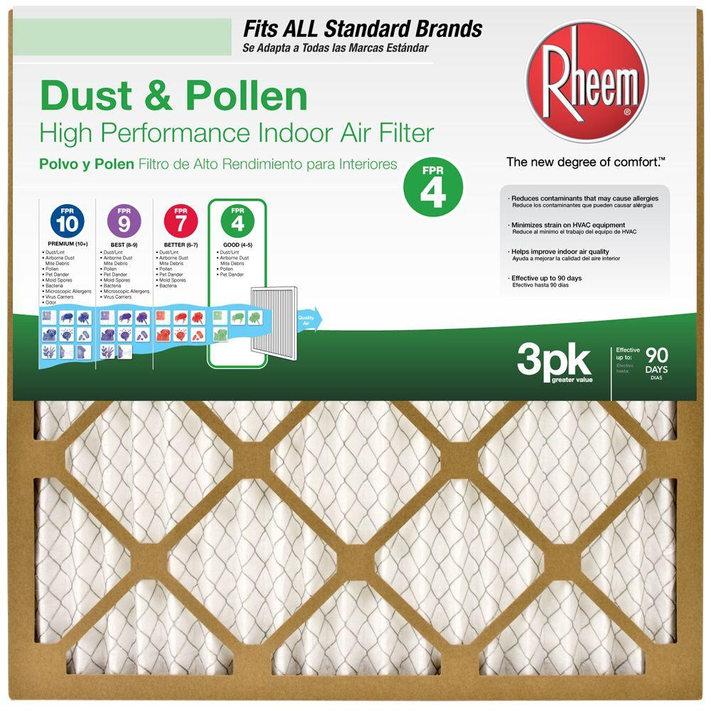 Rheem 16 in. x 25 in. x 1 in. Basic Household Pleated FPR 4 Air Filter (3-Pack)