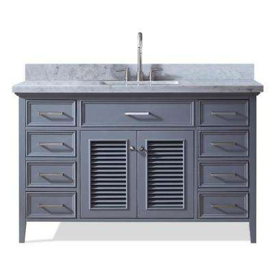 Kensington 55 in. Bath Vanity in Grey with Marble Vanity Top in Carrara White with White Basin