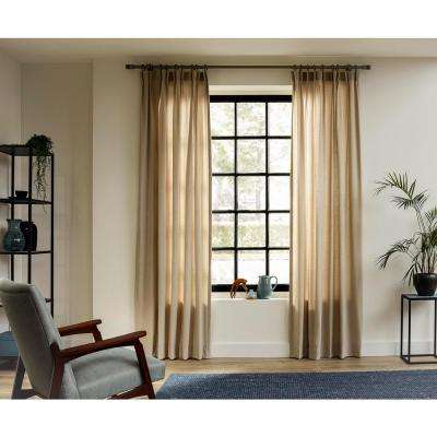 95 in. Curtain Rod Kit in Smoke with Wood-Fabric Finials with Open Brackets and Rings