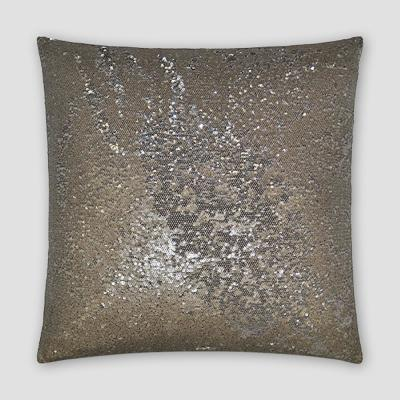 Pixie Silver Solid Down 20 in. x 20 in. Throw Pillow