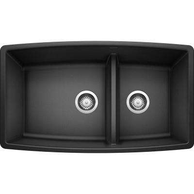 PERFORMA Undermount Granite Composite 33 in. 60/40 Double Bowl Kitchen Sink with Low Divide in Anthracite