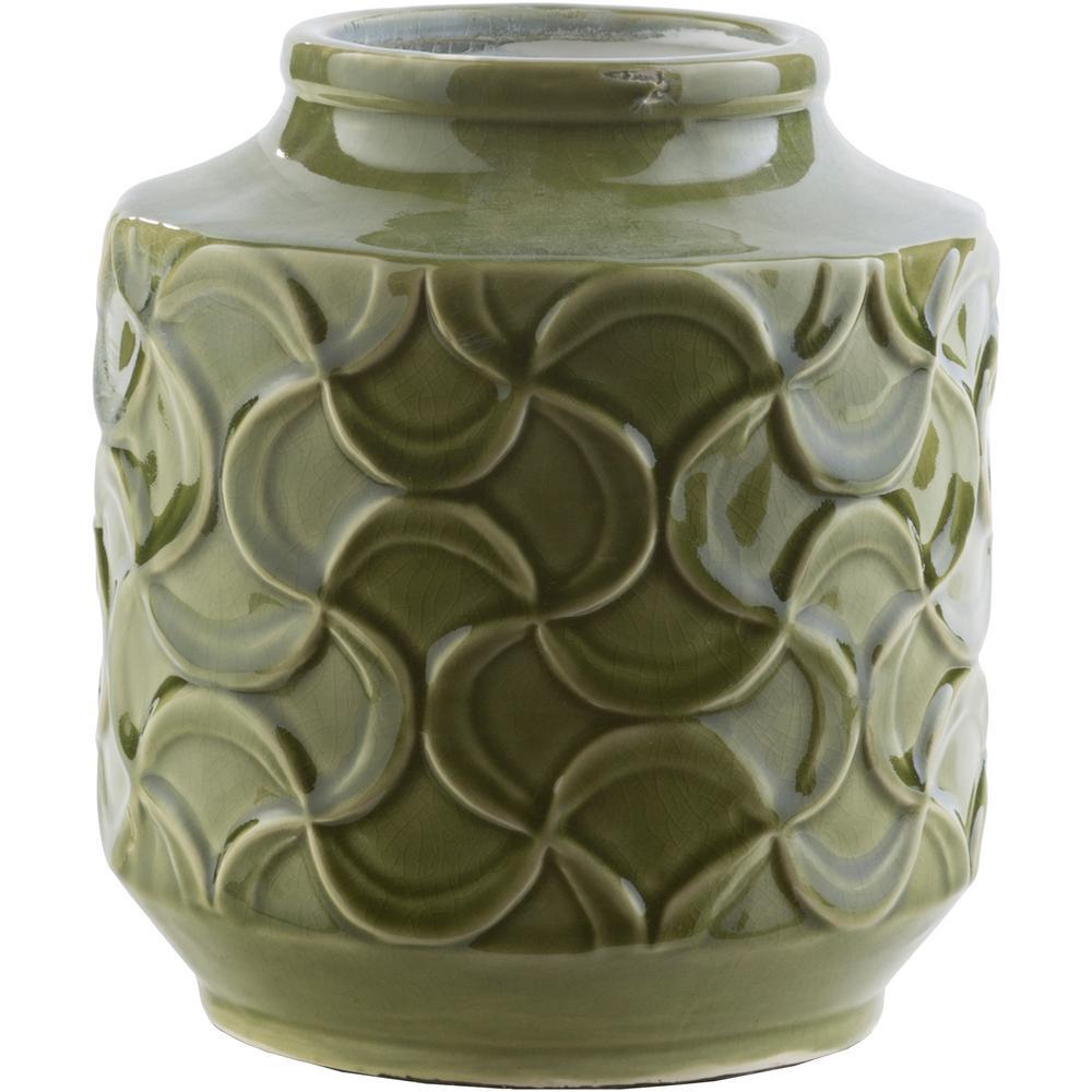 Ohati 7.9 in. Dark Green Ceramic Decorative Vase