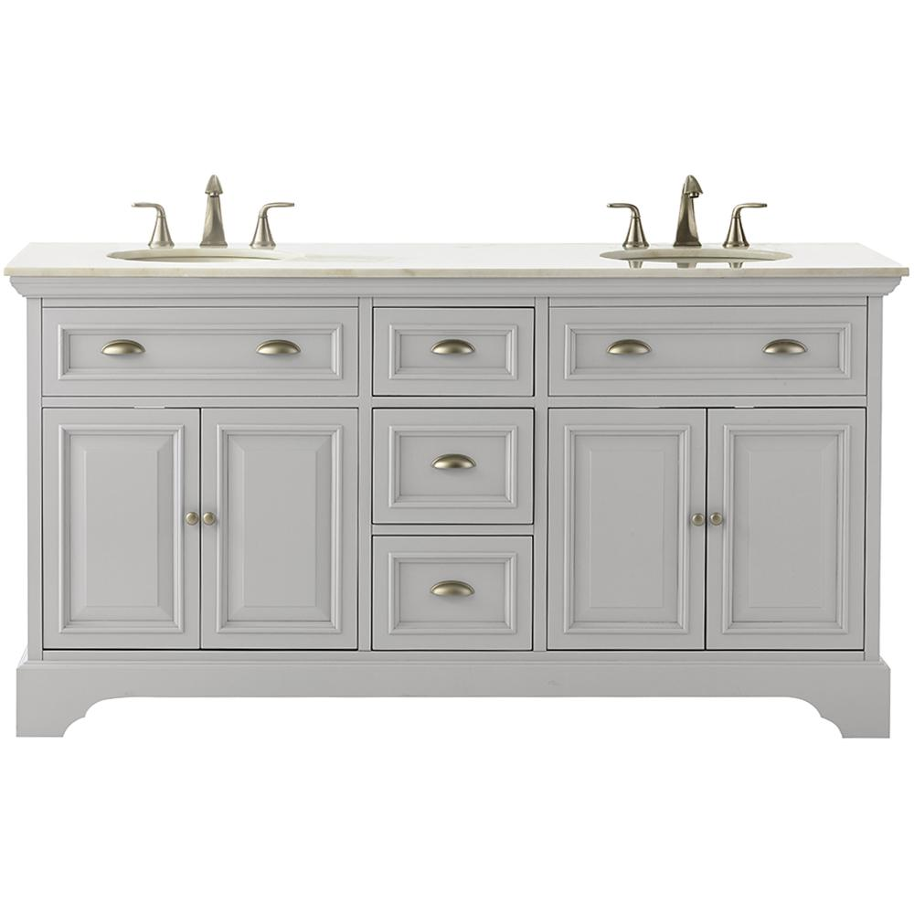 W Double Bath Vanity In Dove Grey With Marble Vanity Top In