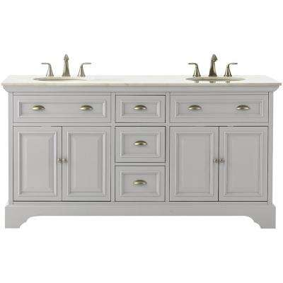 Sadie 67 in. W Double Bath Vanity in Dove Grey with Marble Vanity Top in Natural White