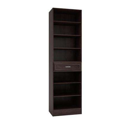 15 in. D x 24 in. W x 84 in. H Rialto Espresso Melamine with 7-Shelves and Drawer Closet System Kit