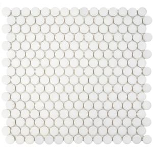 Merola Tile Hudson Penny Round Matte White 12 in. x 12-5/8 in. x 5 mm  Porcelain Mosaic Tile (10.2 sq. ft. / case)-FKOMPR10 - The Home Depot