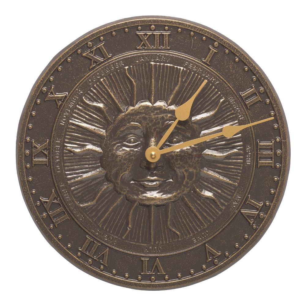 French Bronze Clock Thermometer Wall Mount Outdoor Rust Resistant Aluminum Decor