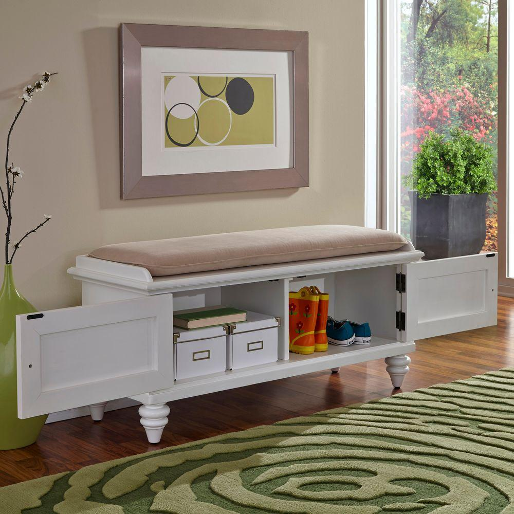 Home Styles Bermuda White Bench