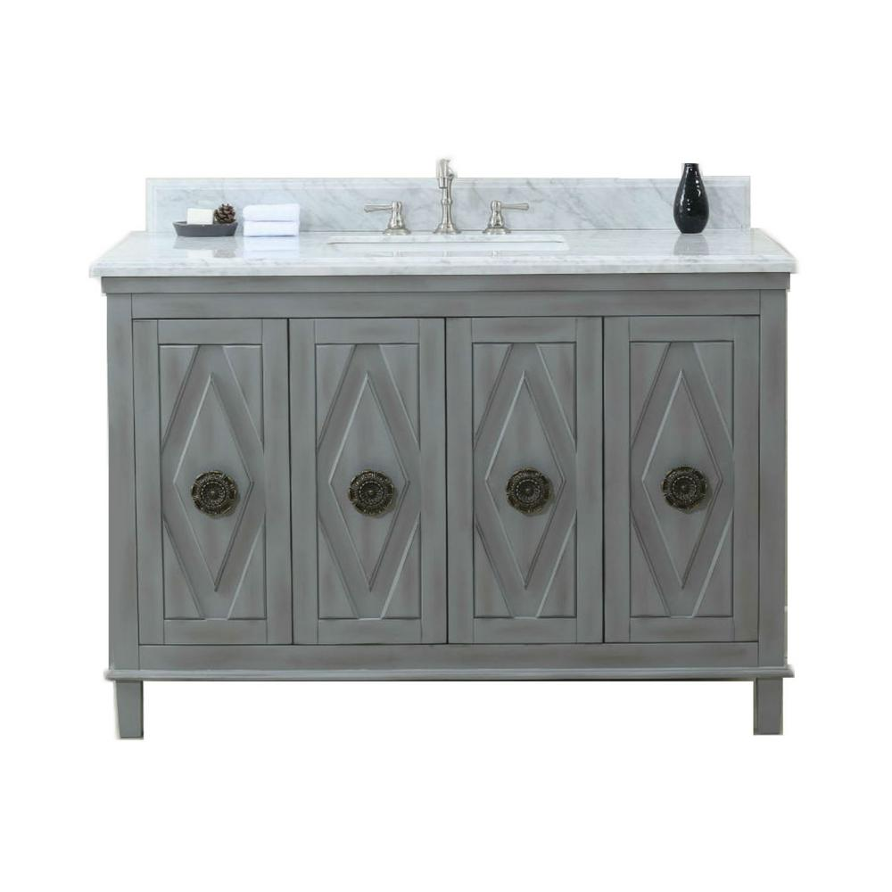 49 in. W x 22 in. D x 38 in. H Vanity in Gray with Marble Vanity Top in Carrara White with White Basin
