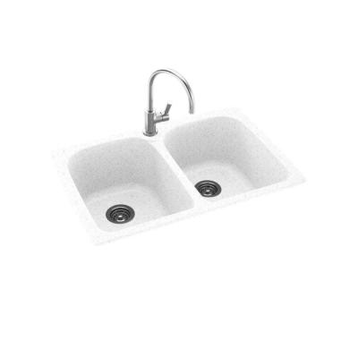Dual-Mount Solid Surface 33 in. x 22 in. 1-Hole 50/50 Double Bowl Kitchen Sink in Arctic Granite