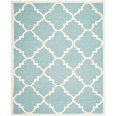 Dhurries Light Blue/Ivory 9 ft. x 12 ft. Area Rug