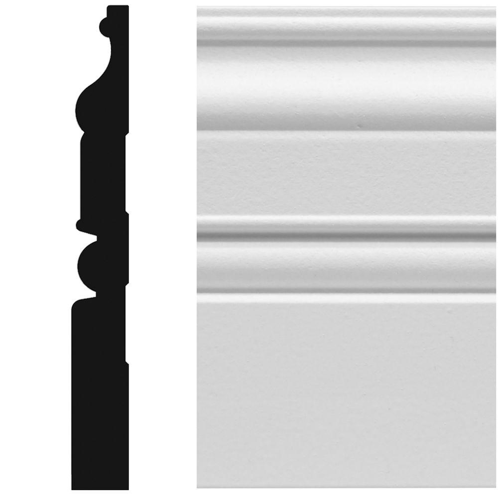 House of Fara 8831 5/8 in. x 5-1/4 in. x 96 in. MDF Primed Colonial Base Moulding