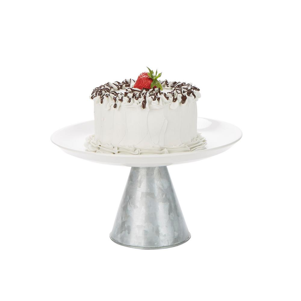 Mind Reader Silver Ceramic Galvanized Cake Stand Party Cake Display Cupcake Stand Holder Dessert Display Tray