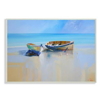 "10 in. x 15 in. ""Two Row Boats at the Shining Shore Painting "" by Craig Trewin Penny Wood Wall Art"