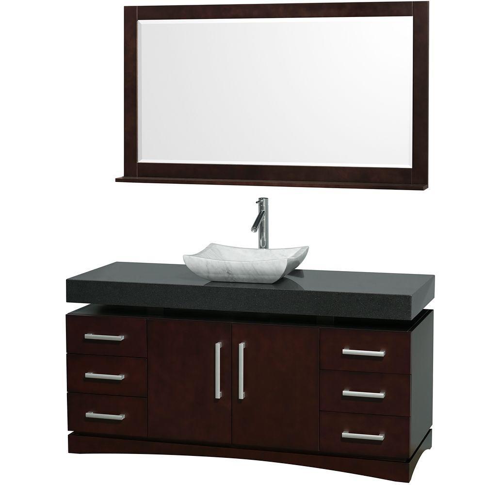 null Monterey 60 in. Vanity in Espresso with Granite Vanity Top in Black and Carrara Marble Sink-DISCONTINUED