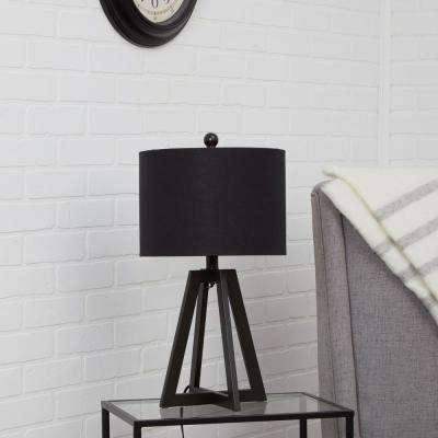 Nila Transitional Open Frame 22.5 Black Table Lamp with Shade