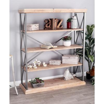 Litton Lane Light Brown 5-Tier Long Rectangular Shelf