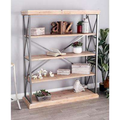 Light Brown 5-Tier Long Rectangular Shelf