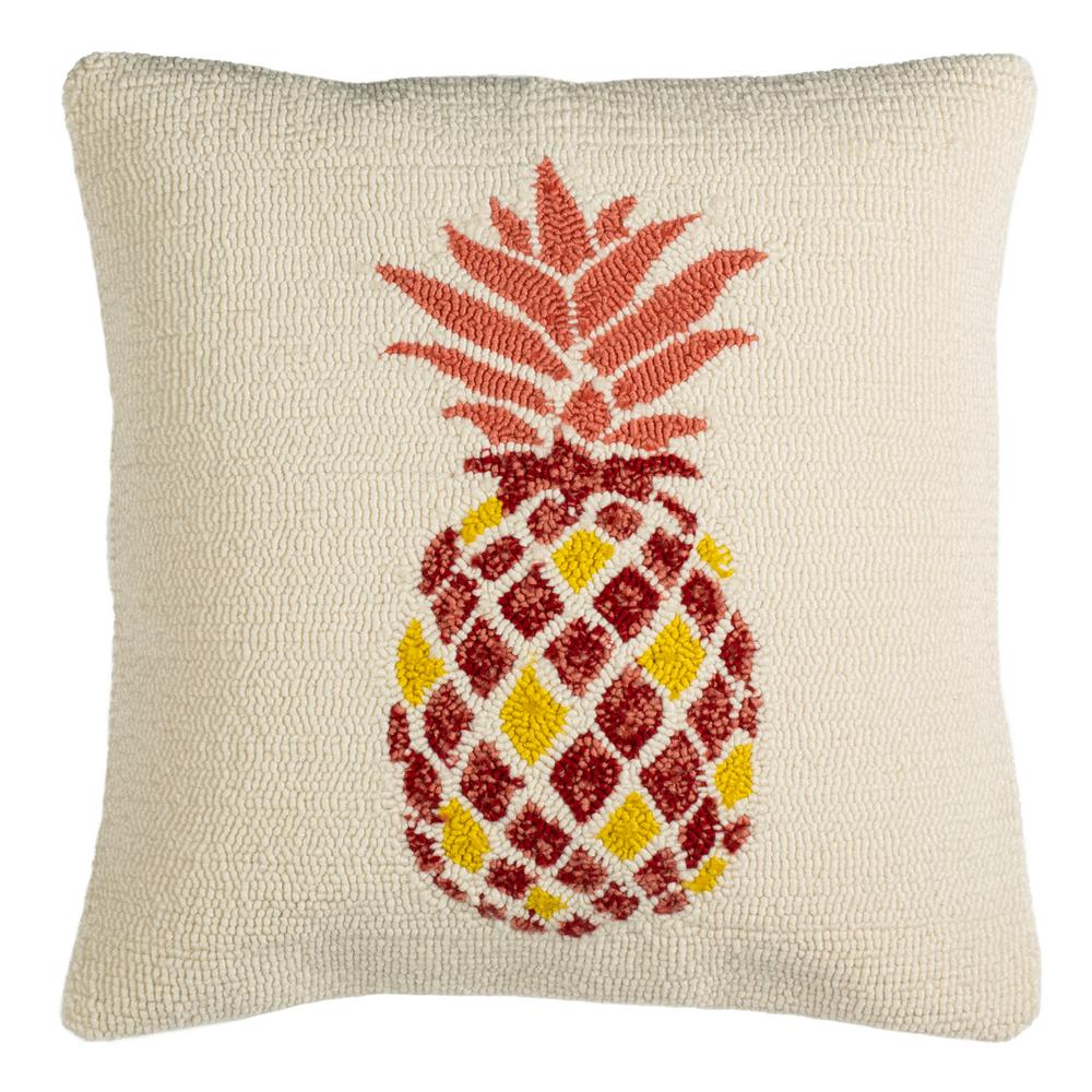 Safavieh Pure Pineapple Redwhite Square Outdoor Throw Pillow