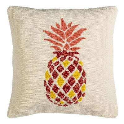 Pure Pineapple Red/WhIte Square Outdoor Throw Pillow