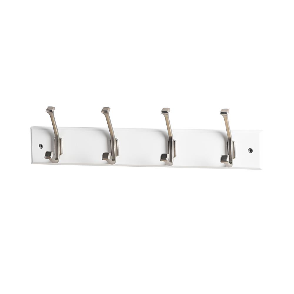 17-5/7 in. L Satin Nickel Bevel Tipped 4-Hooks on White Hook