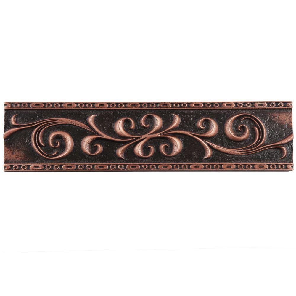 Contempo Scroll Liner Venetian Bronze 3 in. x 12 in. Travertine Metallic Wall Trim Tile