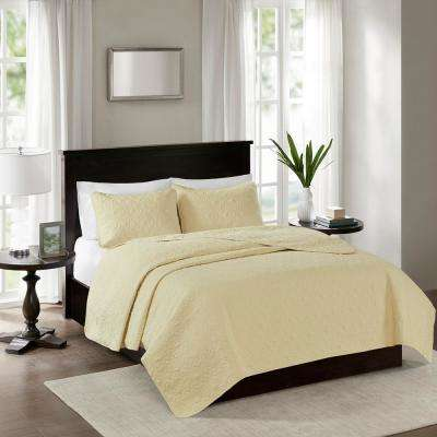 Mansfield 3-Piece Yellow King/Cal King Reversible Mini Coverlet Set