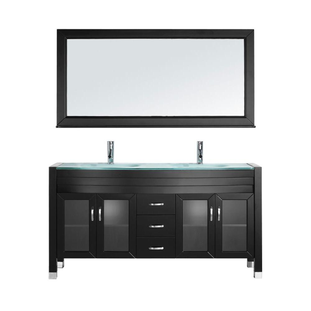 Virtu USA Ava 63 in. W Bath Vanity in Espresso with Glass Vanity Top in Aqua Tempered Glass with Round Basin and Mirror and Faucet