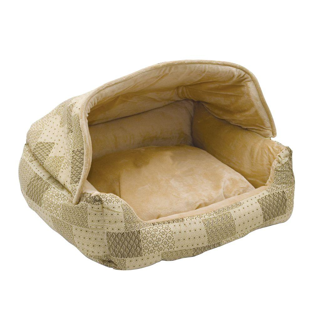 Lounge Sleeper Medium Tan Patchwork Hooded Snuggle Pet Bed