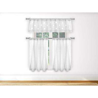 Daisy White Kitchen Curtain Set - 55 in. W x 15 in. L (3-Piece)