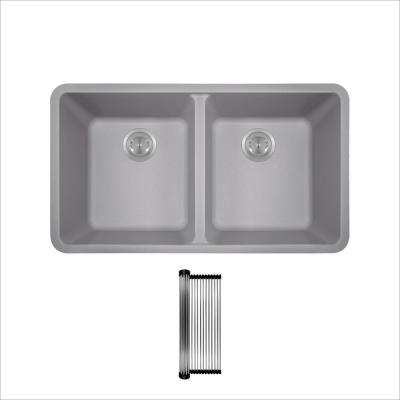 All-in-One Undermount Granite Composite 32-1/2 in. 50/50 Double Bowl Kitchen Sink in Silver