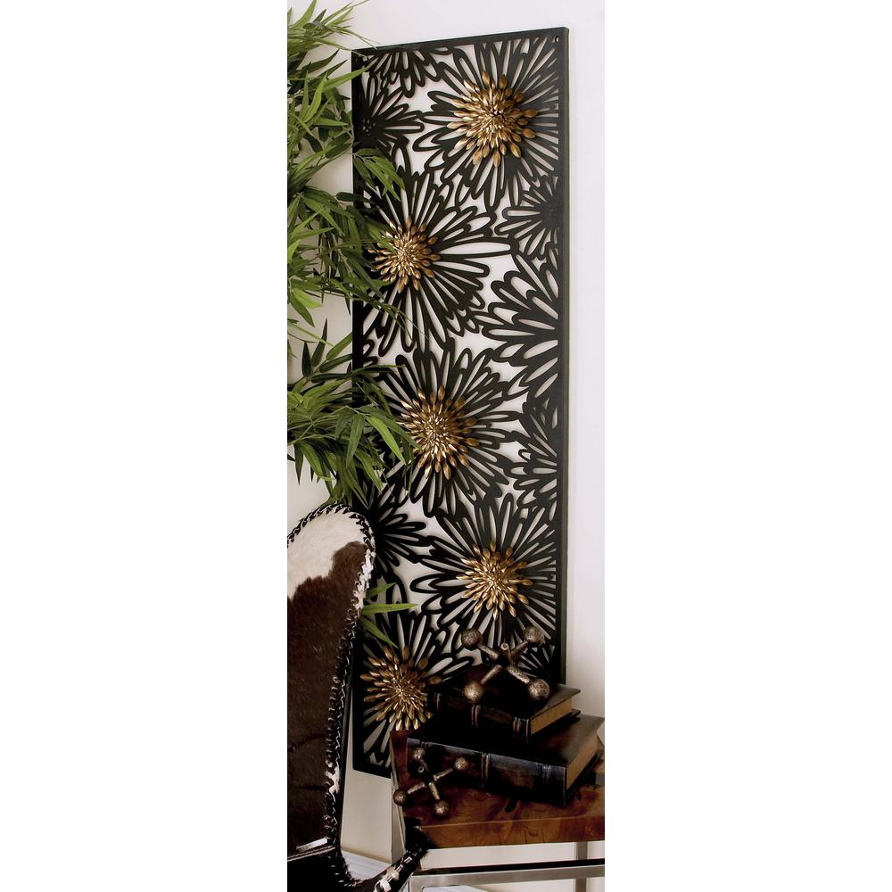 17 in. x 59 in. Modern Black Flowers Silhouette Iron Wall
