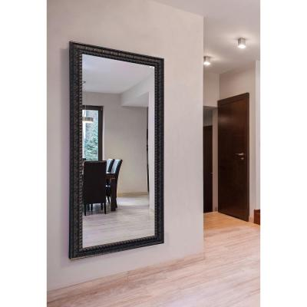 Oversized Rectangle Aged Dark Mahogany Finish Contemporary Mirror (72 in. H x 39 in. W)