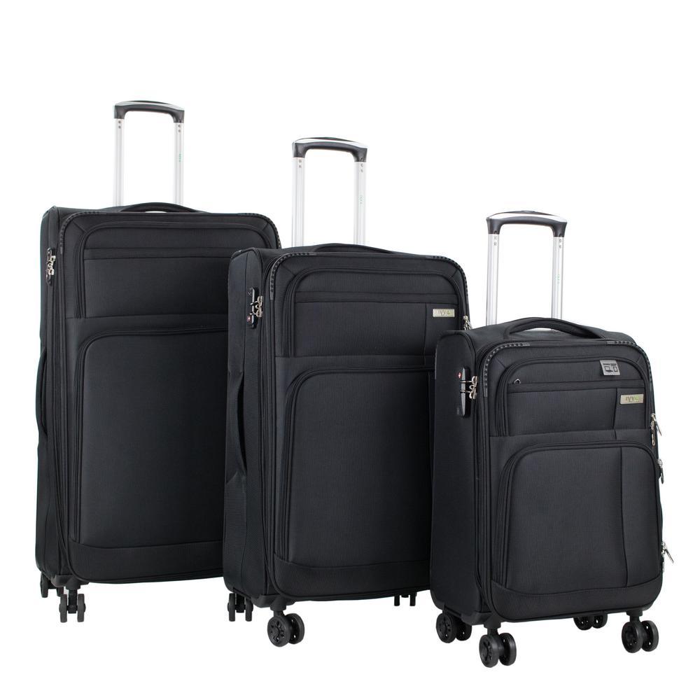 Hamilton 3-Piece Black Spinner Luggage Set with Laptop Tablet Sleeve and TSA Locks
