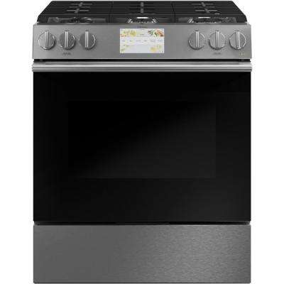 30 in. 5.7 cu. ft. Smart Slide-In Dual Fuel Range with Self-Cleaning Convection Oven in Platinum Glass